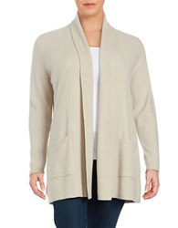Lord And Taylor Petite Open Front Cashmere Sweater Stone Heather