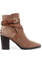 Tod's Leather Trimmed Suede Ankle Boots Brown