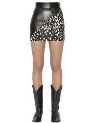Fausto Puglisi Silk Twill And Faux Leather Mini Skirt Black White