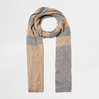 River Island Womens Gold Stripe Knit Scarf