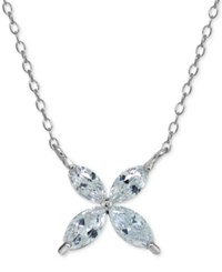 Giani Bernini Cubic Zirconia Marquise Flower Pendant Necklace In Sterling Silver Only At Macy's