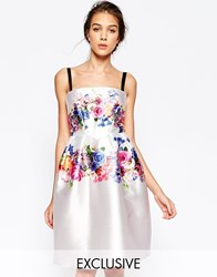 Hope And Ivy Structured Bandeau Prom Dress In Placement Floral Cream Multi