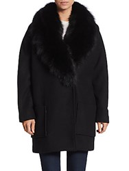 Andrew Marc New York Carine Fox Fur Shawl Coat Black