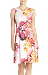 Vince Camuto Women's Floral Print Sateen Fit And Flare Dress
