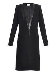 Thierry Mugler Addition Leather Trim Wool Coat