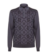 Billionaire Printed Polo Sweater Male Navy