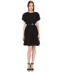 Vera Wang Short Sleeve Pleated Peasant Dress Black Women's Dress