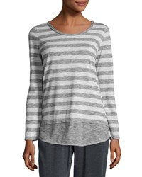 Max Studio Striped Long Sleeve Top Charcoal L