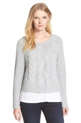Eileen Fisher Bateau Neck Boxy Cable Knit Sweater Gray