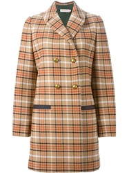 Tory Burch Checked Double Breasted Coat Nude And Neutrals