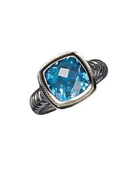 Effy Balissima Sterling Silver And 18 Kt. Yellow Gold Blue Topaz Ring