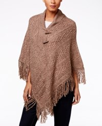 Karen Scott Cable Knit Fringe Poncho Only At Macy's Grain Marl