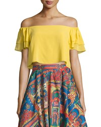 Alice Olivia Whit Cropped Off The Shoulder Top Yellow Women's