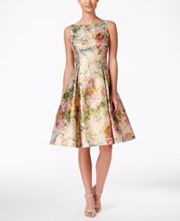 Adrianna Papell Metallic Floral Print Fit And Flare Dress Gold Multi