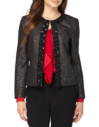 Tahari By Arthur S. Levine Petite Bead Embroidered Open Front Tweed Jacket Black Silver