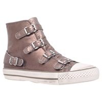 Kurt Geiger Lizzy Leather High Top Trainers Bronze