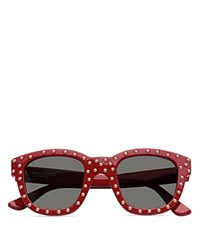 Saint Laurent Lou Studded Square Sunglasses 48Mm Red Smoke Solid Lens