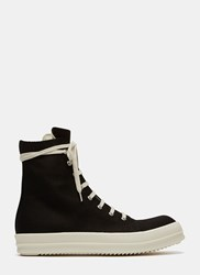 Rick Owens Embroidered Vegan High Top Sneakers Black
