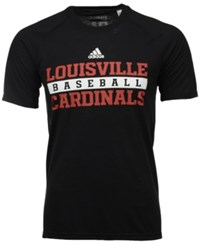 Adidas Men's Louisville Cardinals Sideline Baseball Practice Climalite T Shirt Black