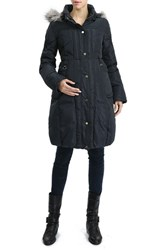 Kimi And Kai Women's 'Minnie' Water Resistant Down Feather Fill Maternity Coat Steel Gray