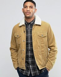 Asos Cord Western Jacket With Borg Collar In Camel Brown