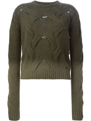 Diesel Cable Knit Degrade Sweater Green