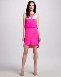 Madison Marcus Neon Colorblock Dress Neon Pink