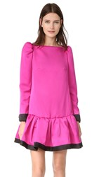 Marc Jacobs Long Sleeve Dress With Ruffle Magenta