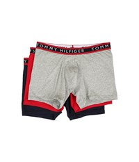 Tommy Hilfiger Cotton Stretch Boxer Brief 3 Pack Red Dark Navy Grey Heather Men's Underwear Multi