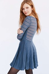 Kimchi And Blue Kimchi Blue Long Sleeve Pointelle Mini Dress Slate