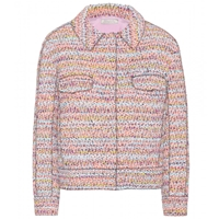 Nina Ricci Cropped Tweed Jacket Orange Bleu Multi