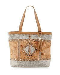 Mary Frances Rise And Shine Beaded Snake Embossed Leather Tote Bag Tan