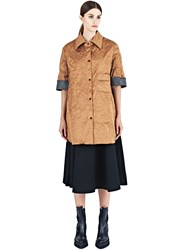 Yang Li Oversized Creased Shirt Brown