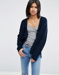 Asos Cardigan In Double Breasted Shape Navy
