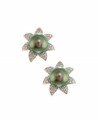 Belpearl 14K Tahitian Pearl And Diamond Flower Button Earrings