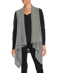 Lord And Taylor Cashmere Sleeveless Flyaway Cardigan Pewter Heather