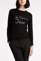 Bella Freud Je T'aime Jane Merino Jumper Black