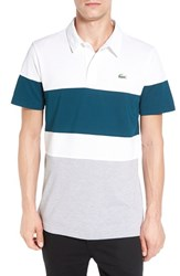 Lacoste Men's Colorblock Ultra Dry Golf Polo White Silver Chine Papyrus
