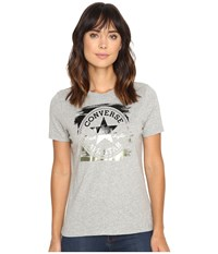 Converse Metallic Core Patch Crew Tee Vintage Grey Heather Women's T Shirt Gray