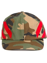 Off White Camouflage Baseball Cap Green