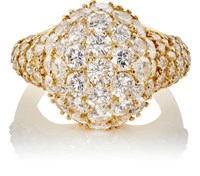 Mahnaz Collection Vintage Women's White Diamond And Yellow Gold Bombe Ring Gold