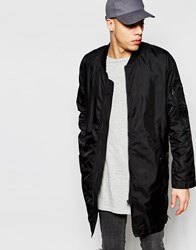 Cheap Monday Bomber Jacket Protect Parka Nylon Longline In Black Black