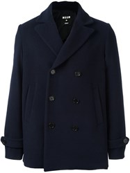 Msgm Double Breasted Peacoat Blue