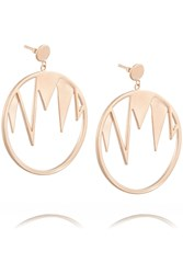 Arme De L'amour Rose Gold Plated Hoop Earrings Metallic