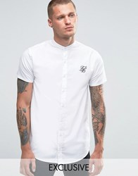 Sik Silk Siksilk Shirt With Grandad Collar In Skinny Fit White