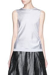Armani Collezioni Silk Front Sleeveless Cashmere Knit Top Grey