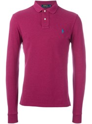 Polo Ralph Lauren Embroidered Logo Shirt Pink And Purple