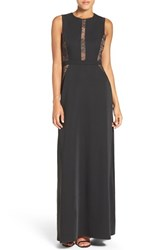 Bcbgmaxazria Women's 'Ashlee' Lace And Crepe Gown Black
