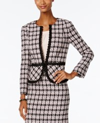 Tahari By Arthur S. Levine Asl Boucle Tweed Blazer Pink Black