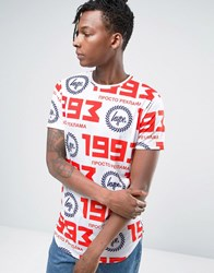 Hype T Shirt With Russian Logo Repeat Print White